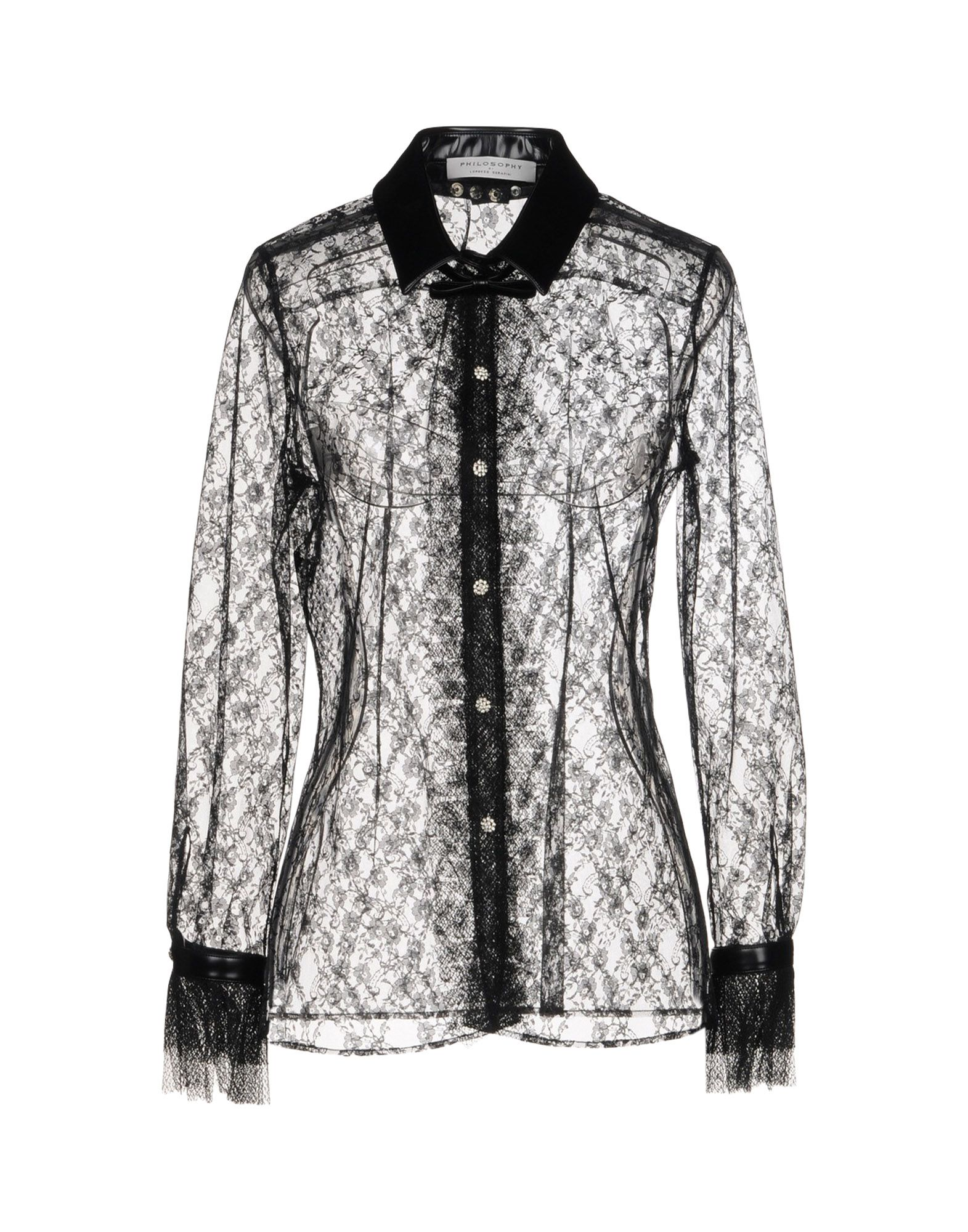 《セール開催中》PHILOSOPHY di LORENZO SERAFINI レディース シャツ ブラック 40 ポリエステル 100% / ポリウレタン