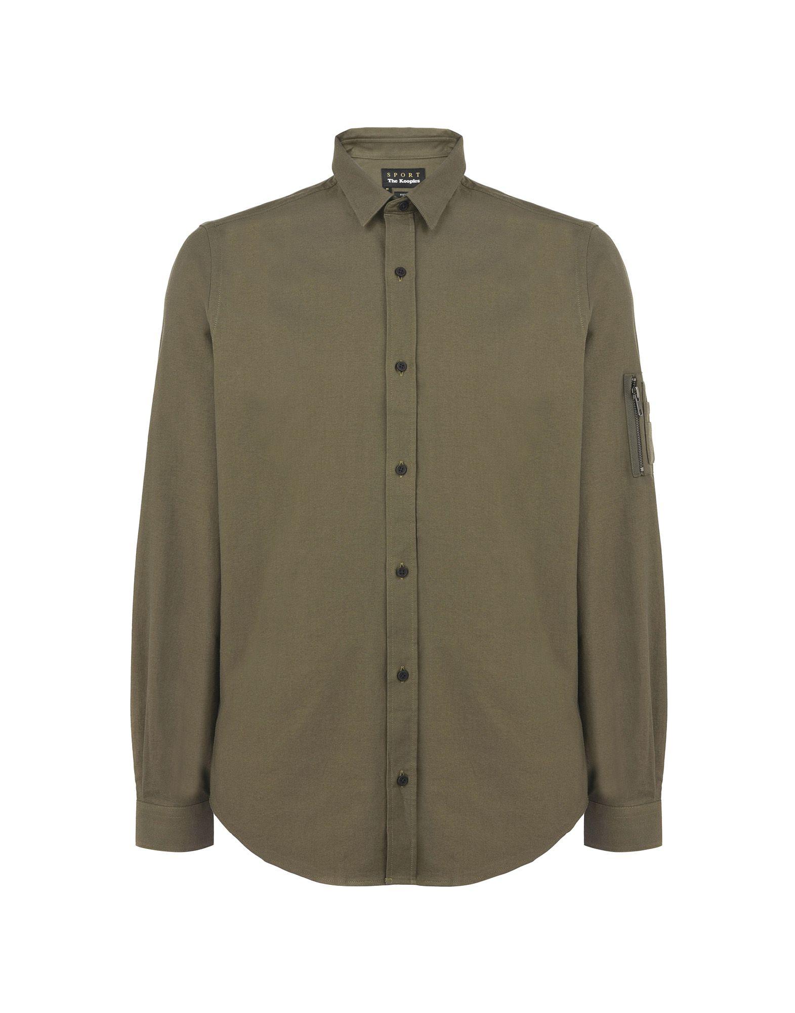 《送料無料》THE KOOPLES SPORT メンズ シャツ ミリタリーグリーン S コットン 100% SHIRT WITH A CLASSIC COLLAR AND CHEST POCKETS