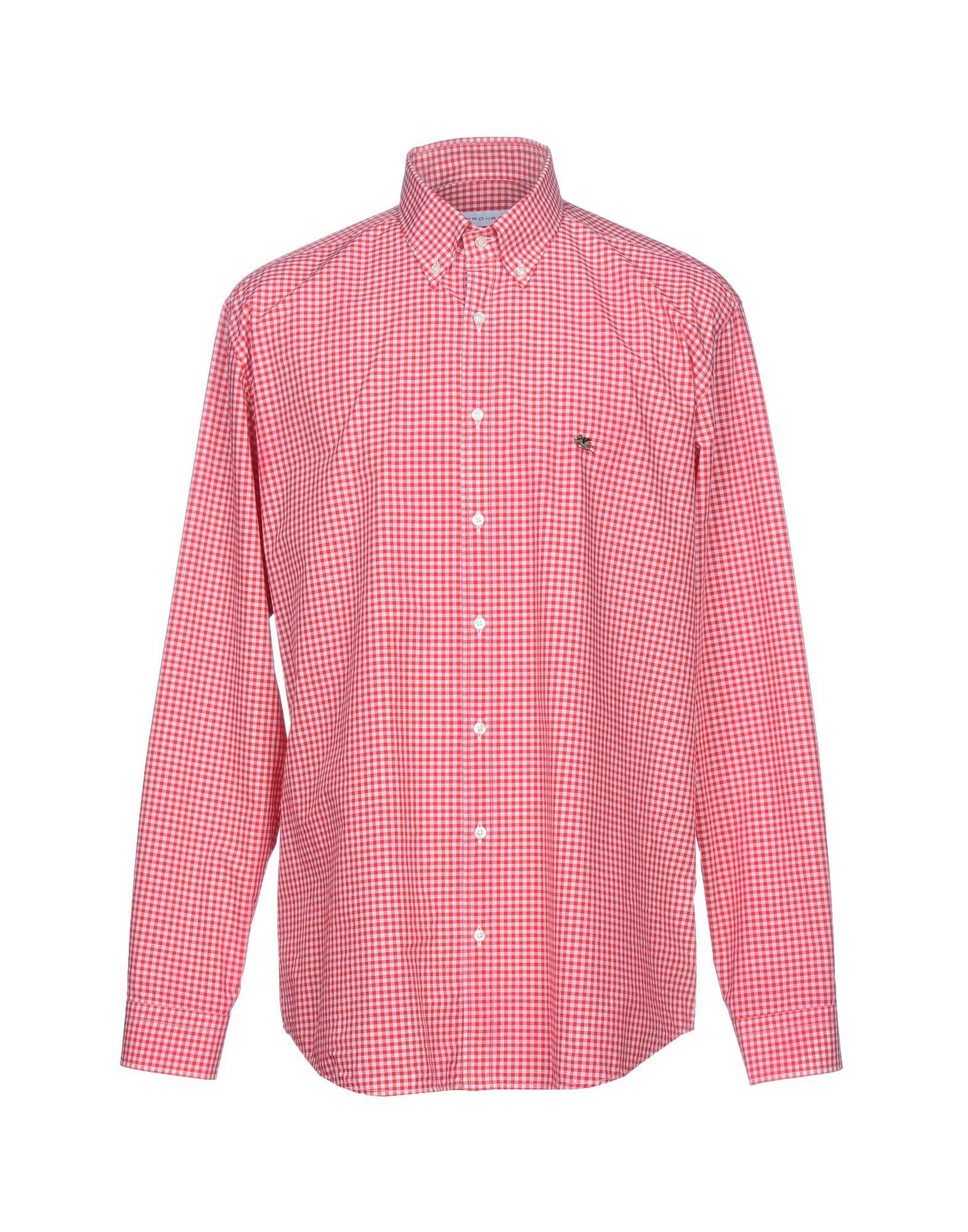 《送料無料》ETRO メンズ シャツ レッド 39 コットン 100%