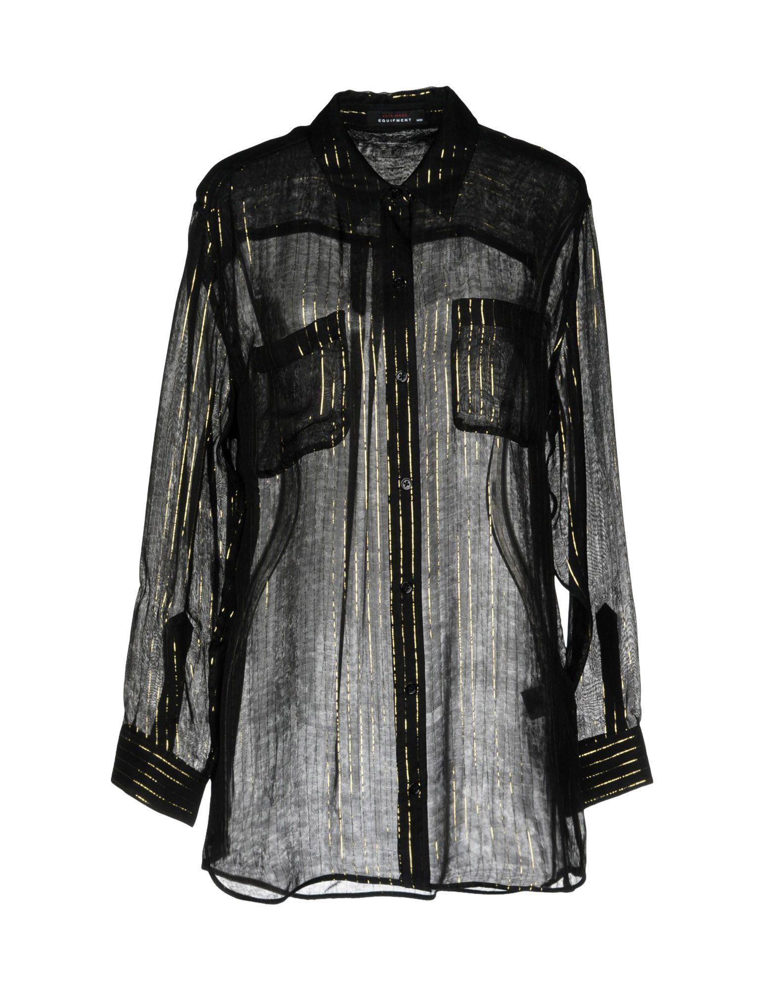 《送料無料》KATE MOSS EQUIPMENT レディース シャツ ブラック XS シルク 96% / 金属繊維 4%