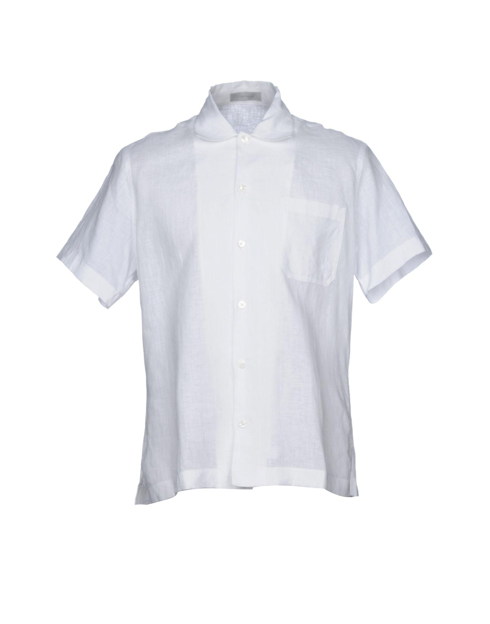 《セール開催中》CORTIGIANI メンズ シャツ ホワイト M 麻 100%