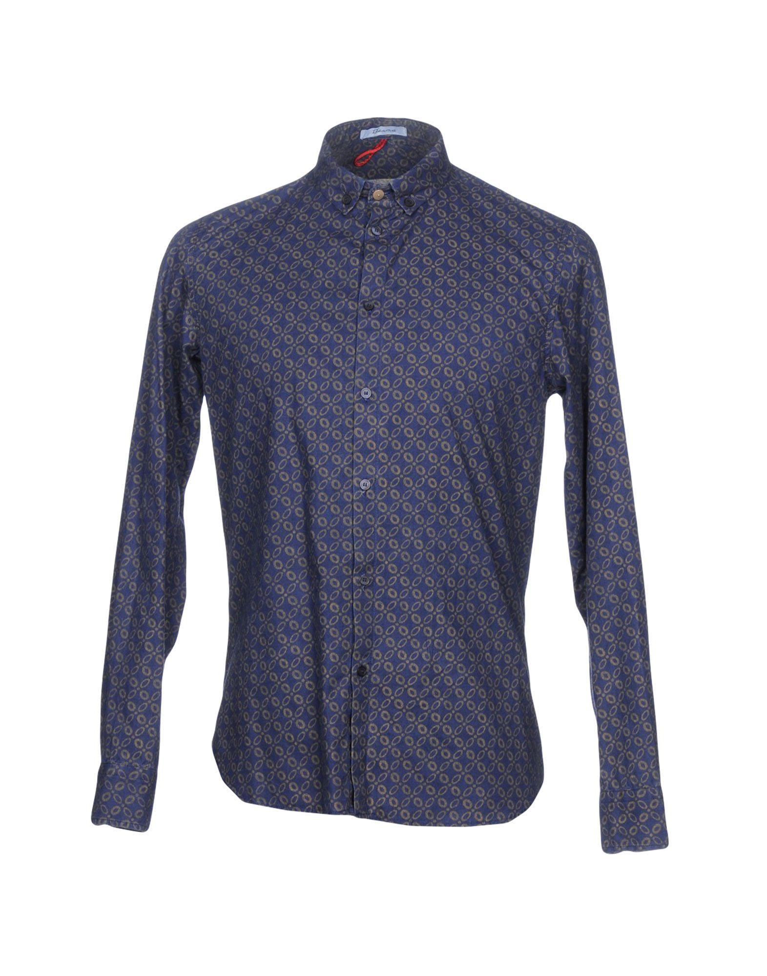 《送料無料》BERNA メンズ シャツ ブルー S コットン 100%