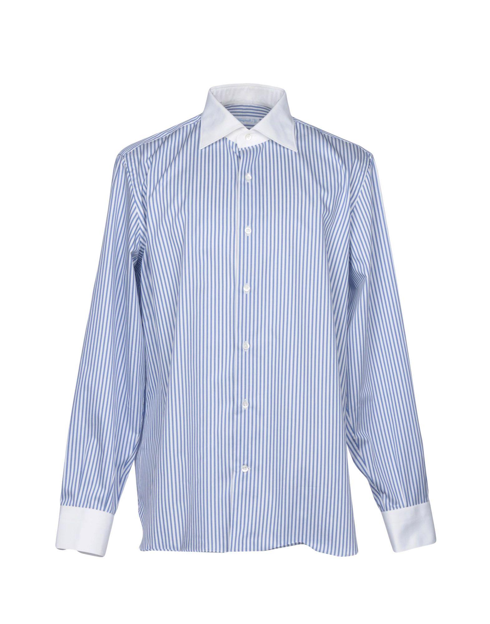 《送料無料》GIAMPAOLO メンズ シャツ ブルー 45 コットン 100%