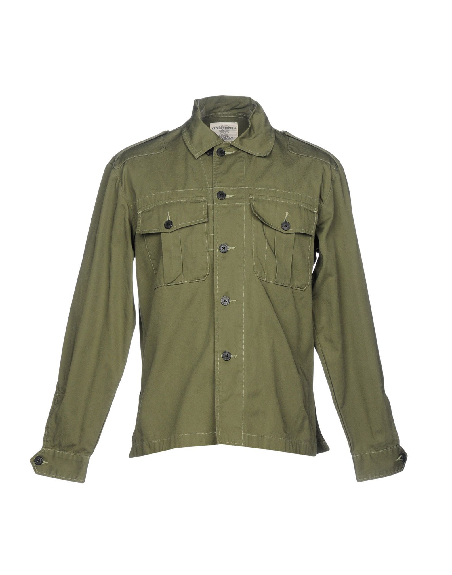 《送料無料》KENT & CURWEN メンズ シャツ ミリタリーグリーン XS コットン 100%
