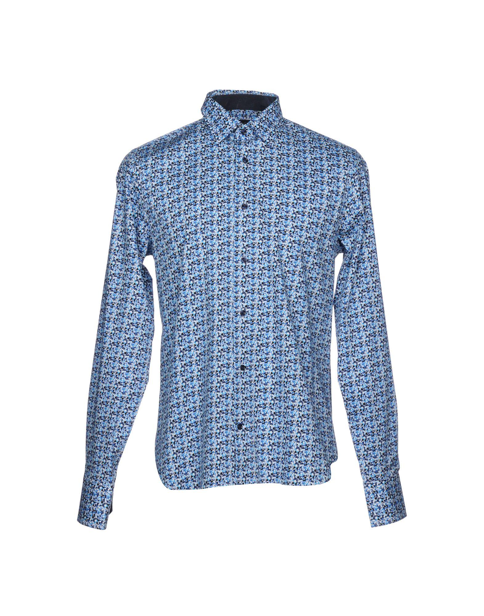 《セール開催中》ANTICA SARTORIA AMBROSIANA メンズ シャツ アジュールブルー 39 コットン 97% / ポリウレタン 3%