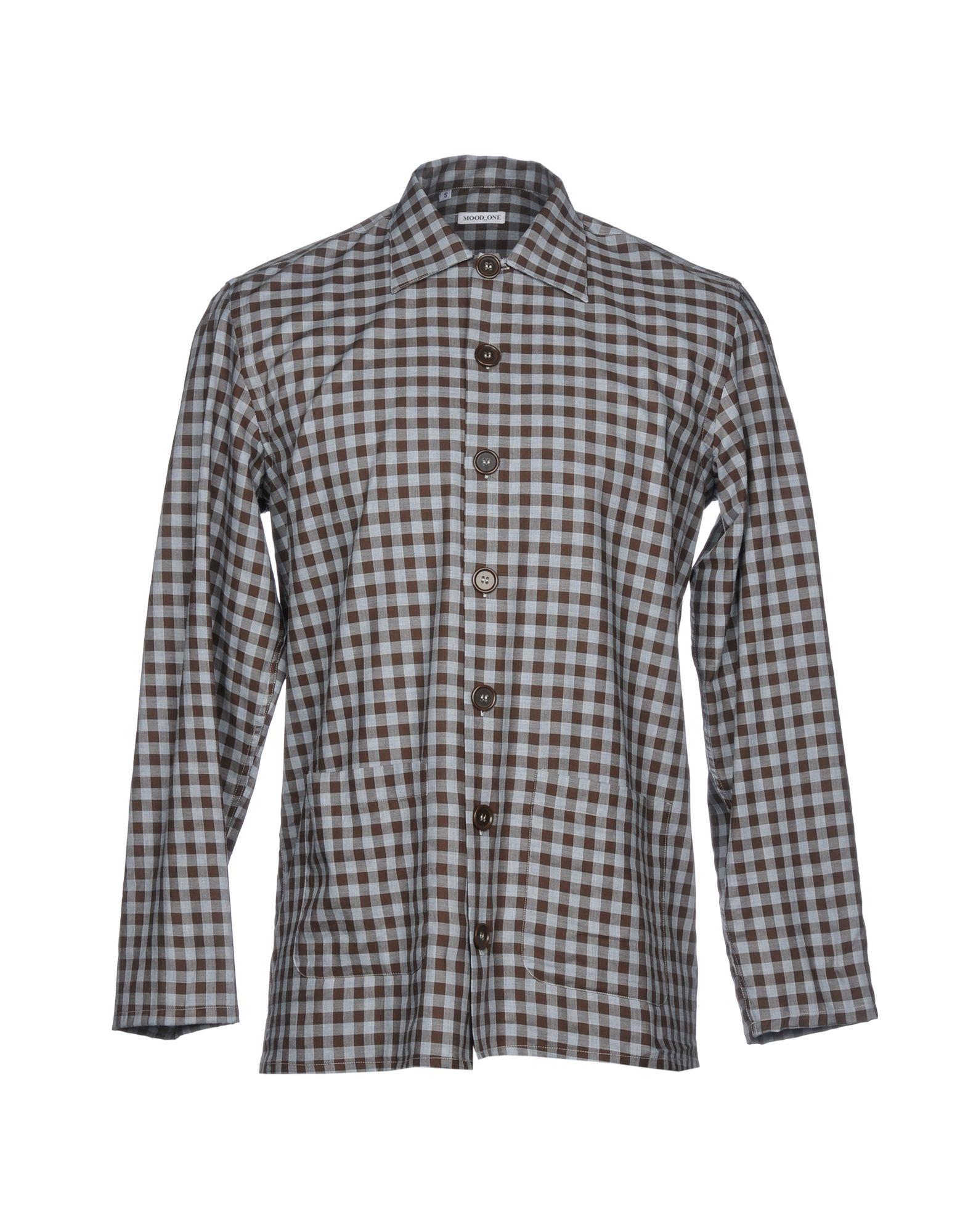 《セール開催中》MOOD_ONE メンズ シャツ ダークブラウン S コットン 100%