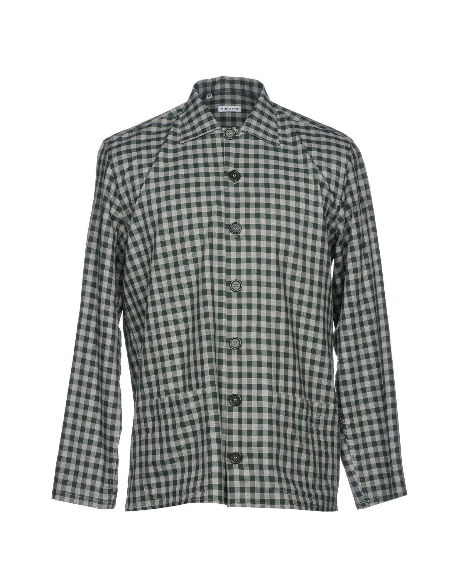《セール開催中》MOOD_ONE メンズ シャツ ダークグリーン M コットン 100%