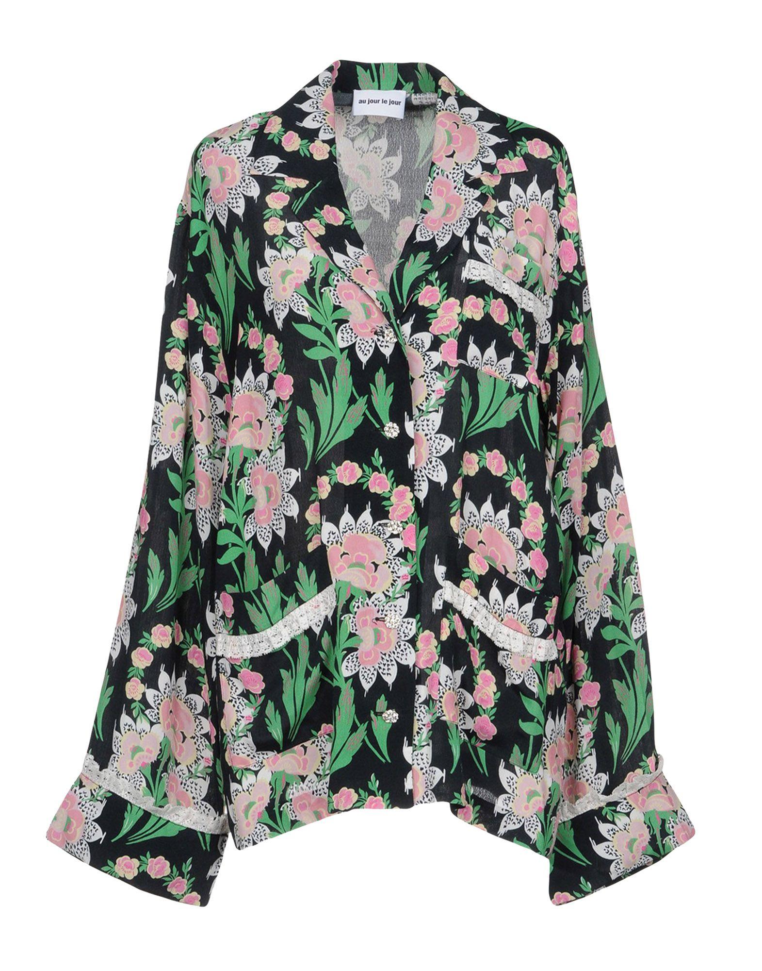 Au Jour Le Jour Floral Shirts & Blouses In Black