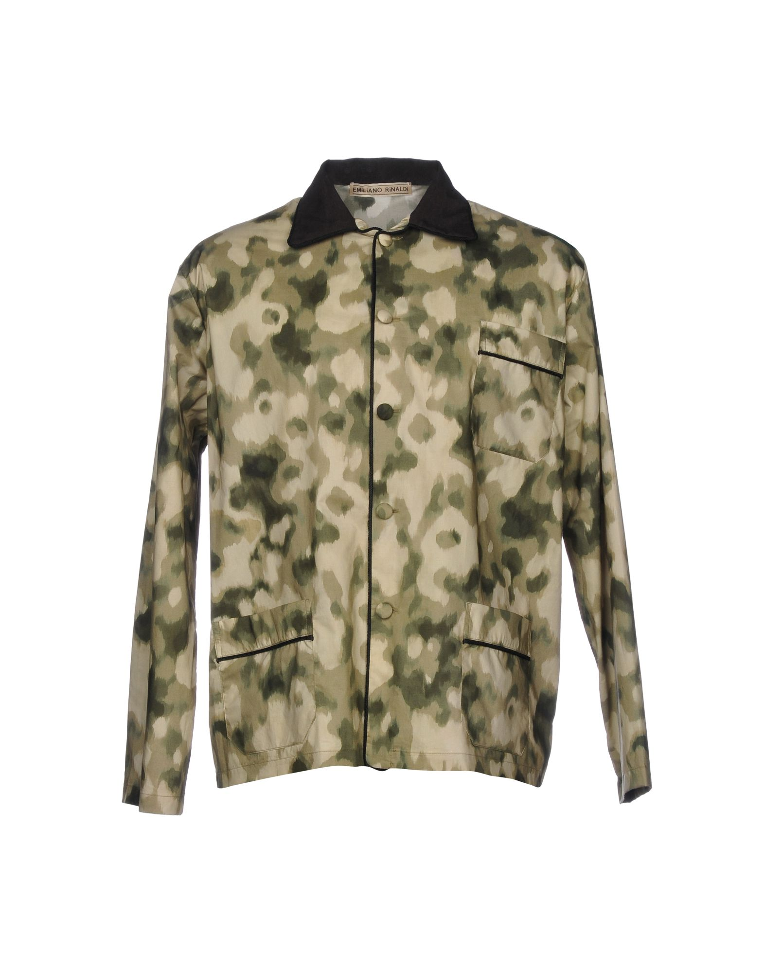 EMILIANO RINALDI Patterned Shirt in Military Green