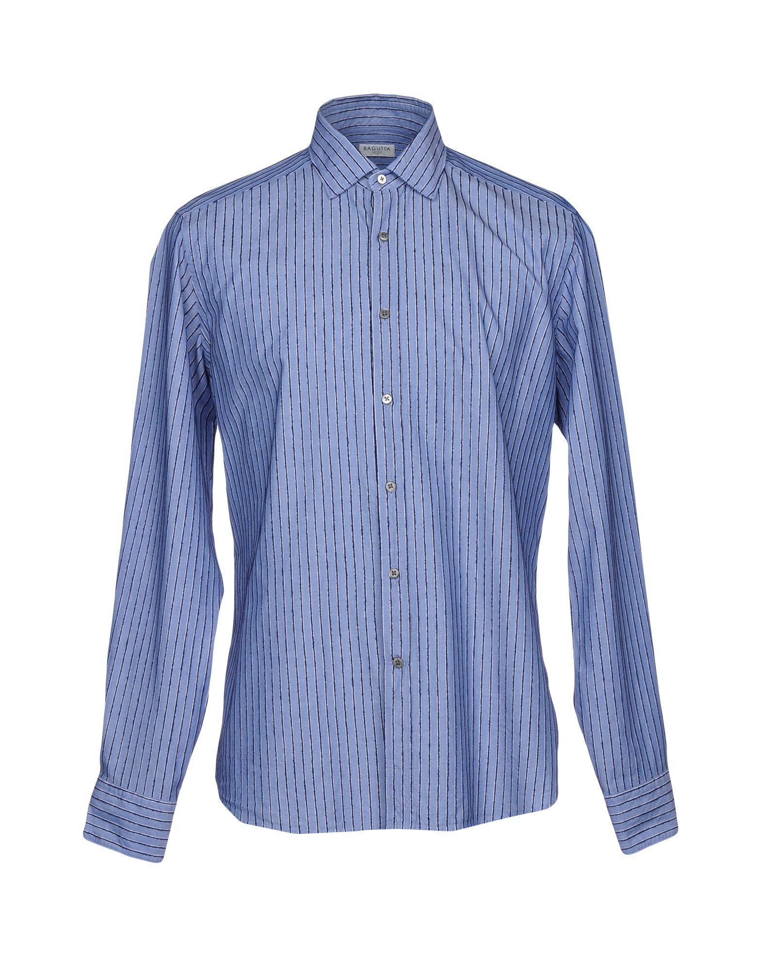 《送料無料》BAGUTTA メンズ シャツ アジュールブルー S コットン 100%