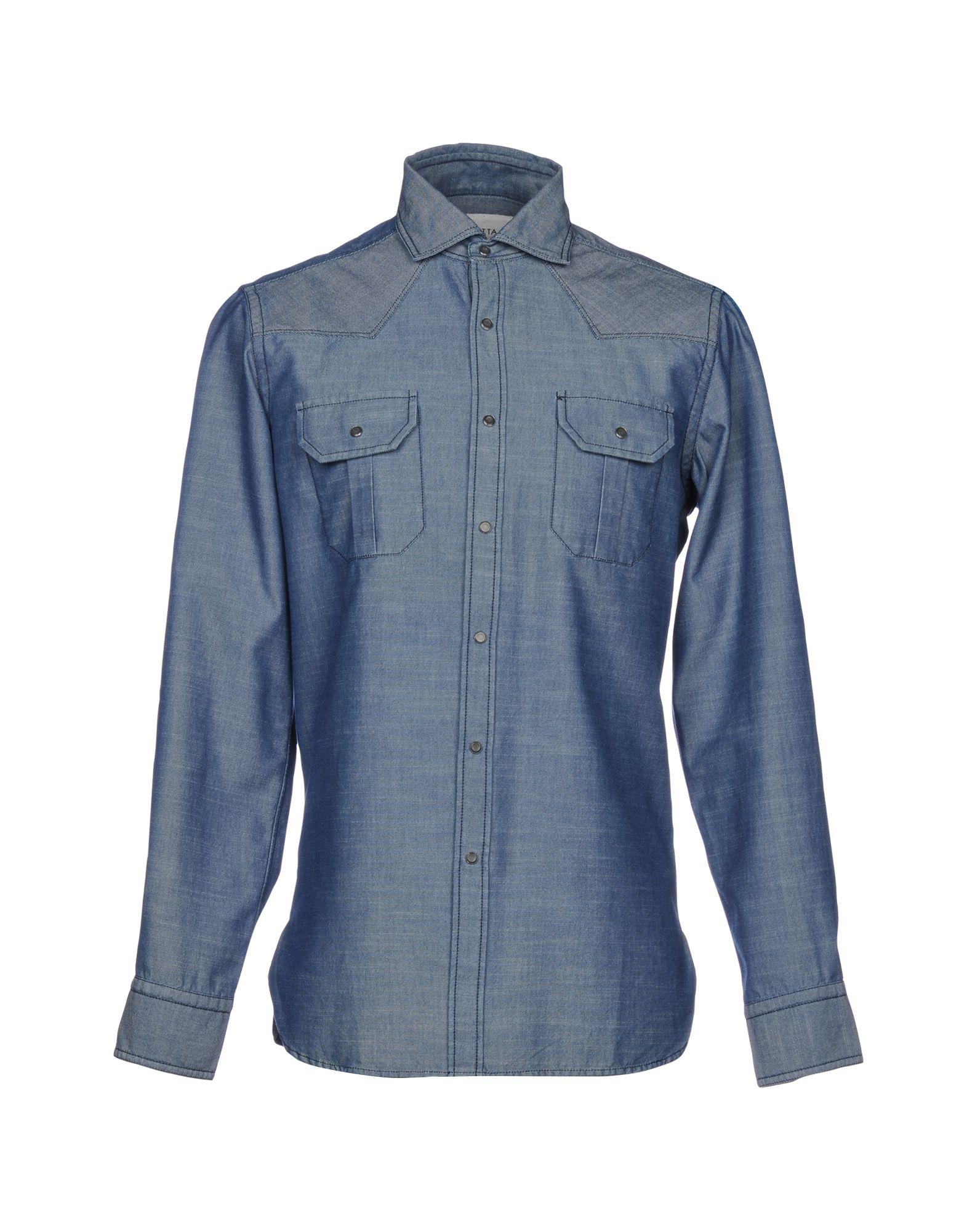 《送料無料》BAGUTTA メンズ シャツ ブルー S コットン 100%