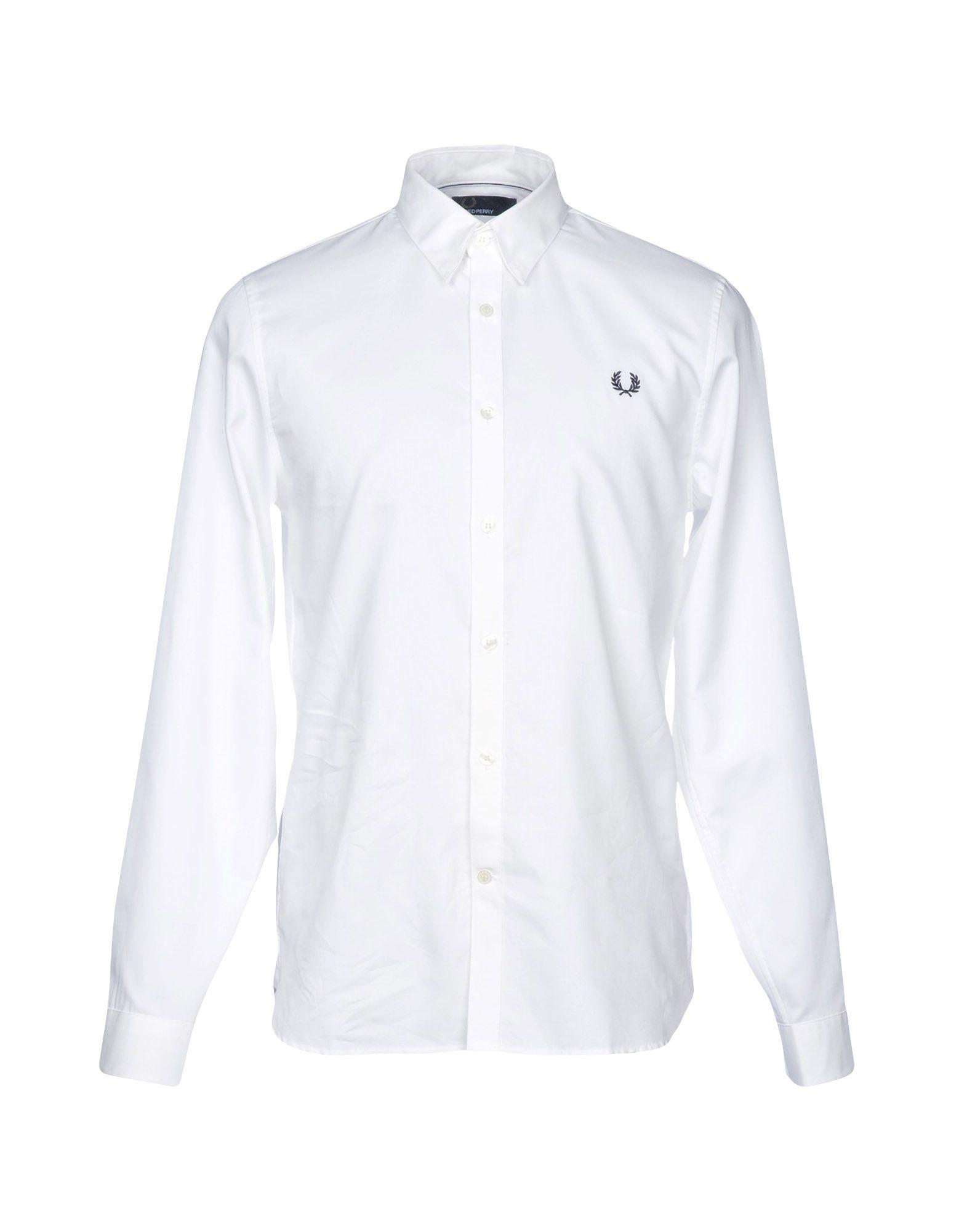 FRED PERRY メンズ シャツ ホワイト M コットン 100%