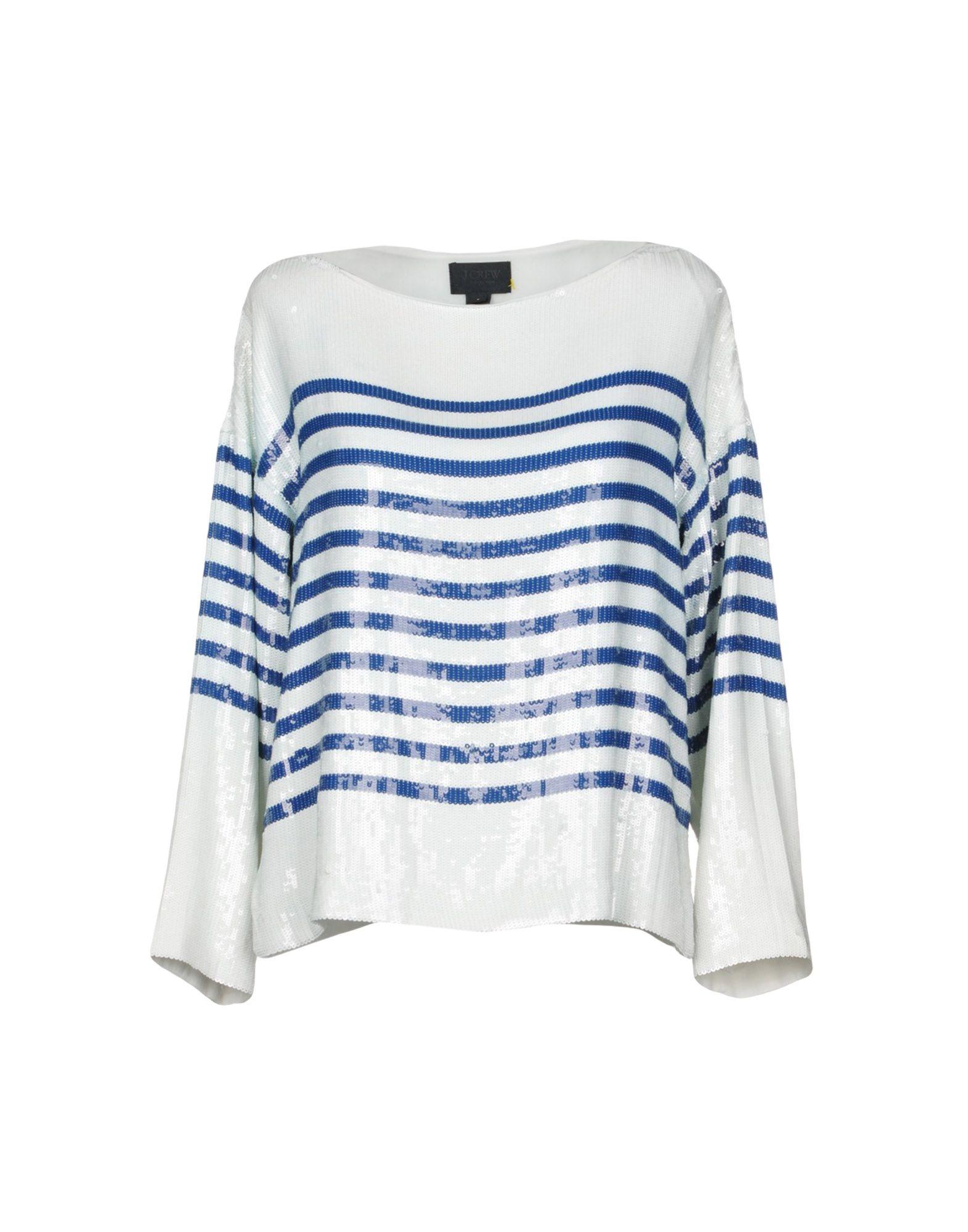 J.CREW Blouses. plain weave, sequined, stripes, long sleeves, turtleneck, no pockets. 100% Silk