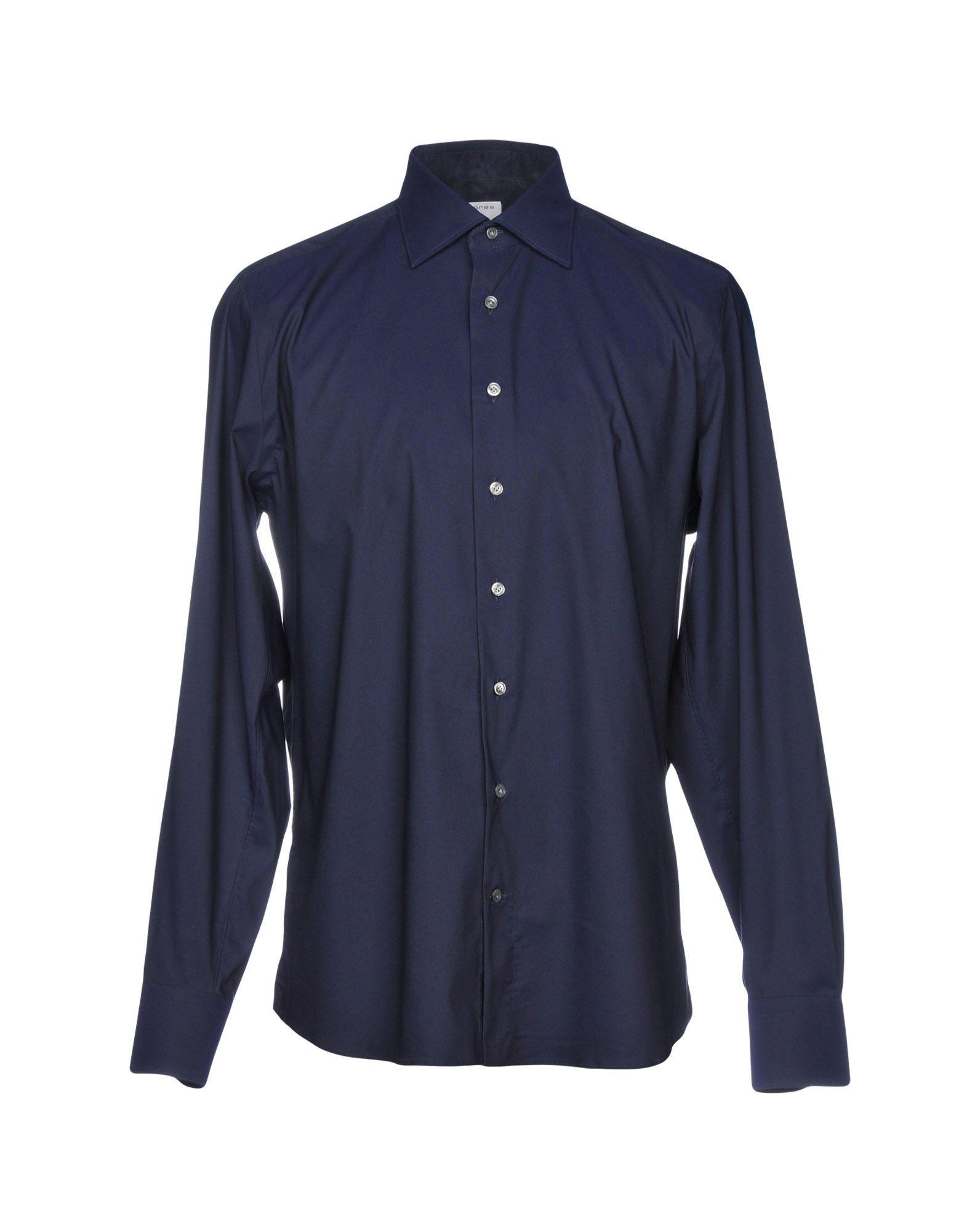 BORSA Solid Color Shirt in Dark Blue