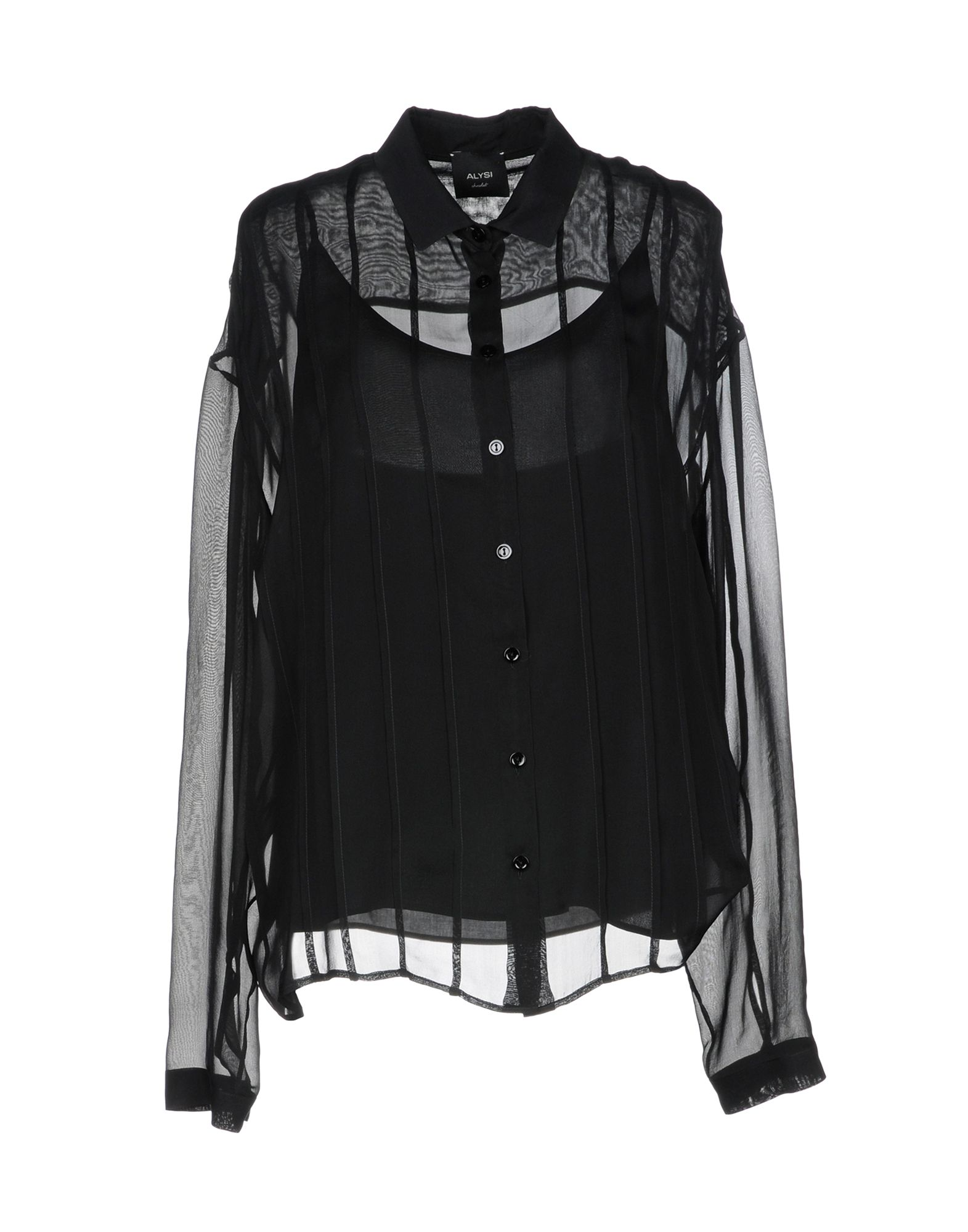 《送料無料》ALYSI レディース シャツ ブラック 46 シルク 100%