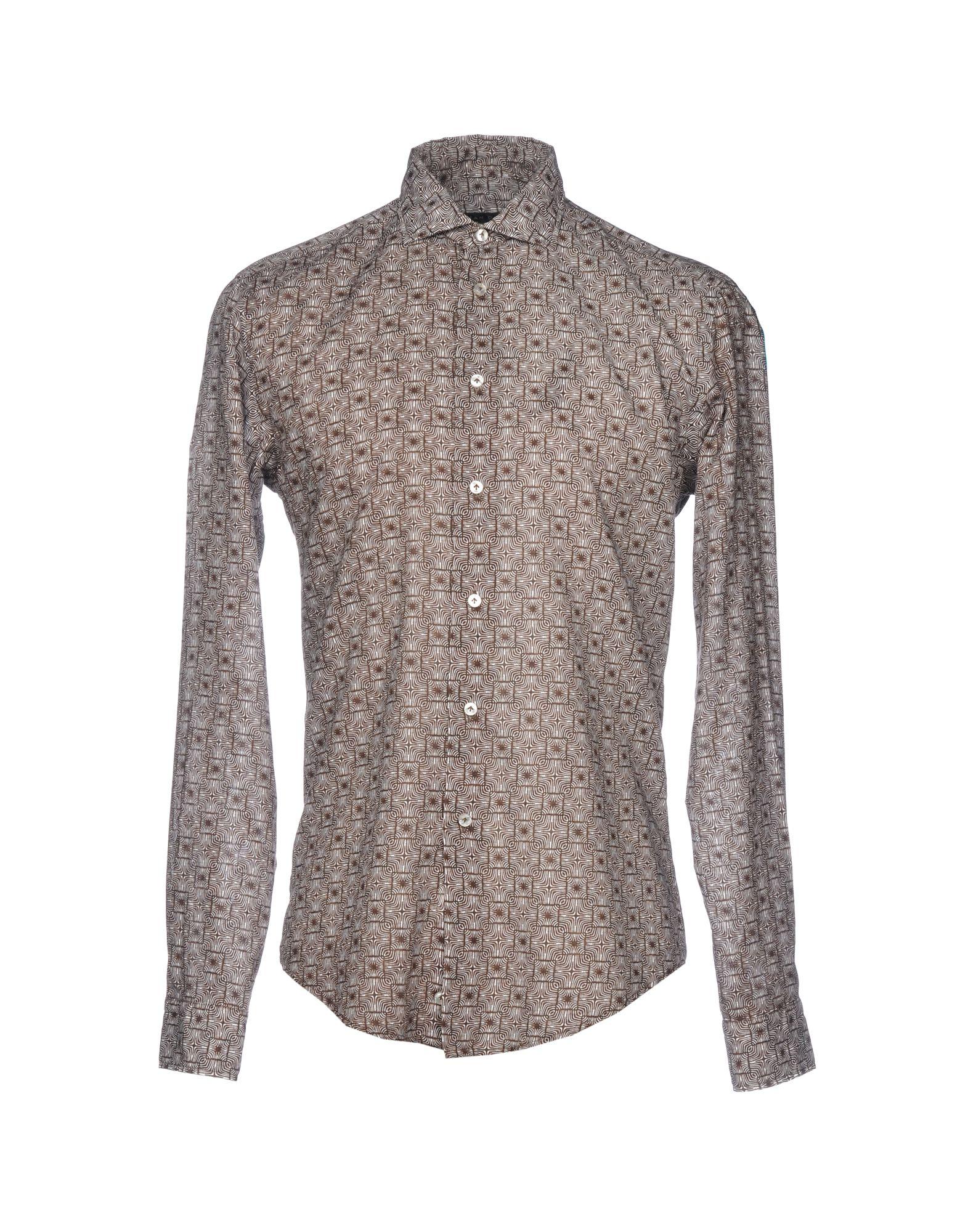 《送料無料》BRIAN DALES メンズ シャツ ダークブラウン 40 コットン 100%
