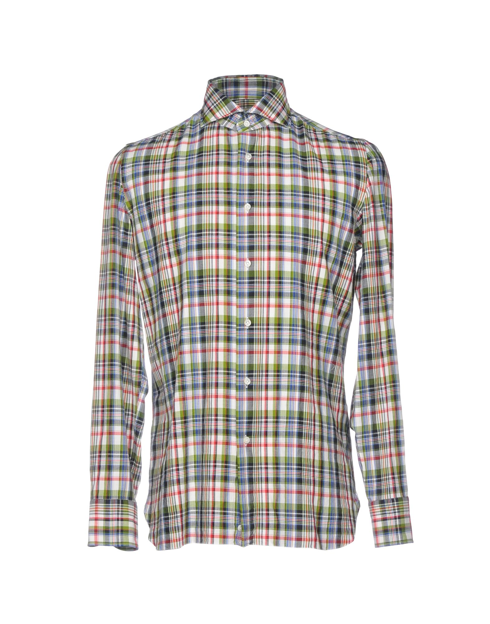 《送料無料》LUIGI BORRELLI NAPOLI メンズ シャツ ライトグリーン 39 コットン 100%