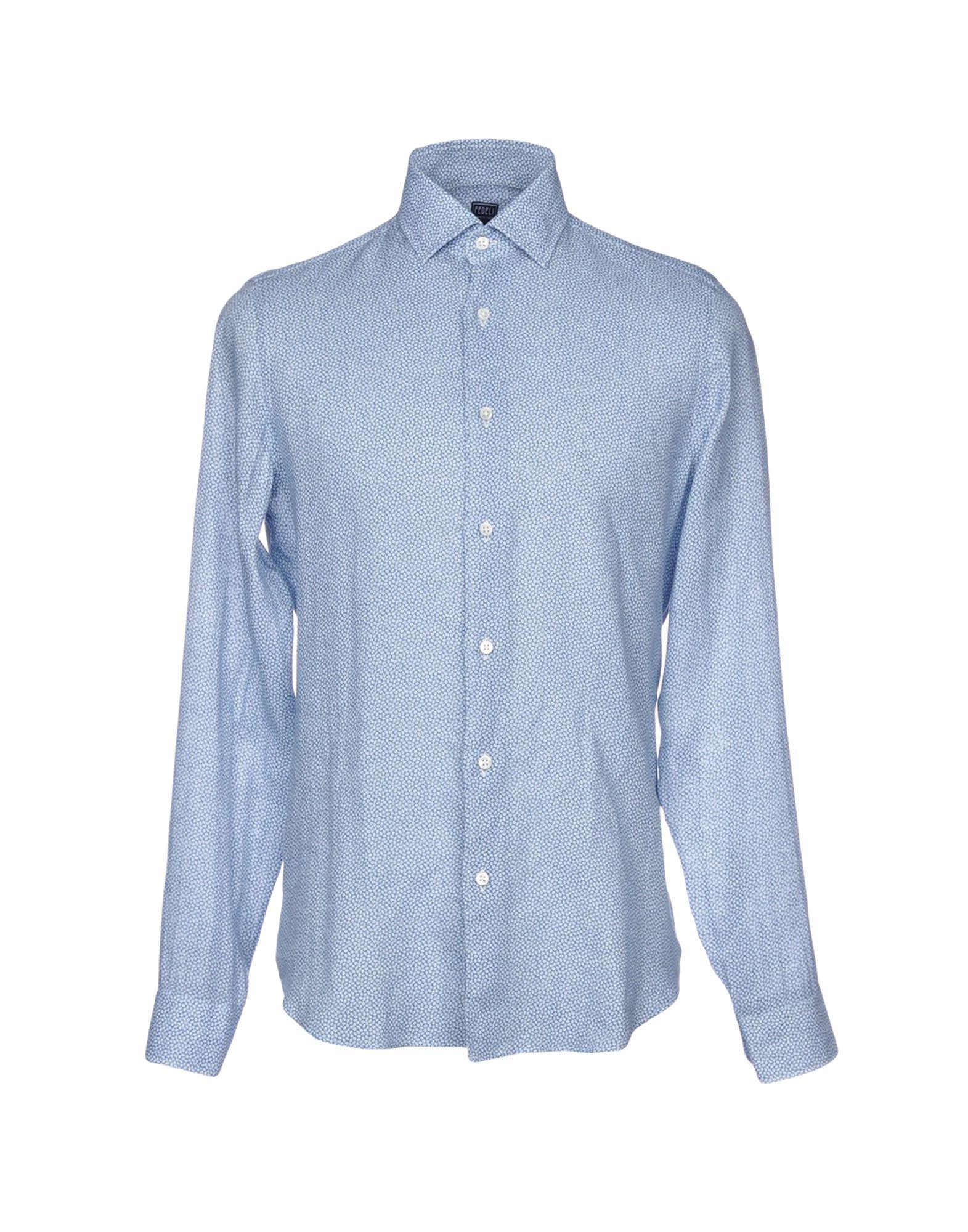FEDELI メンズ シャツ ブルー 39 麻 100%
