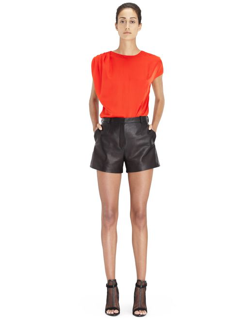 BRIGHT ORANGE ASYMMETRICAL BLOUSE - Lanvin