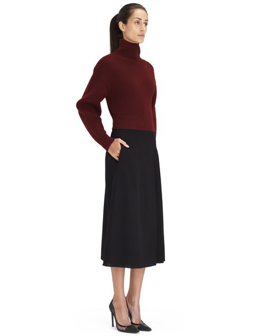 BURGUNDY RIB KNIT SWEATER - Lanvin