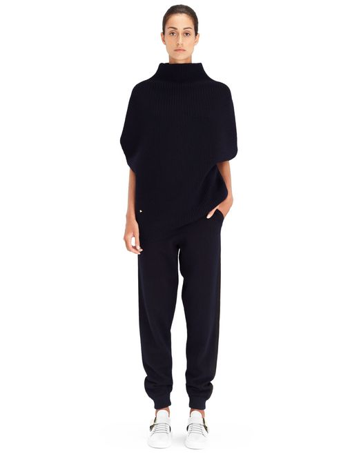 MIDNIGHT BLUE RIB KNIT SWEATER - Lanvin