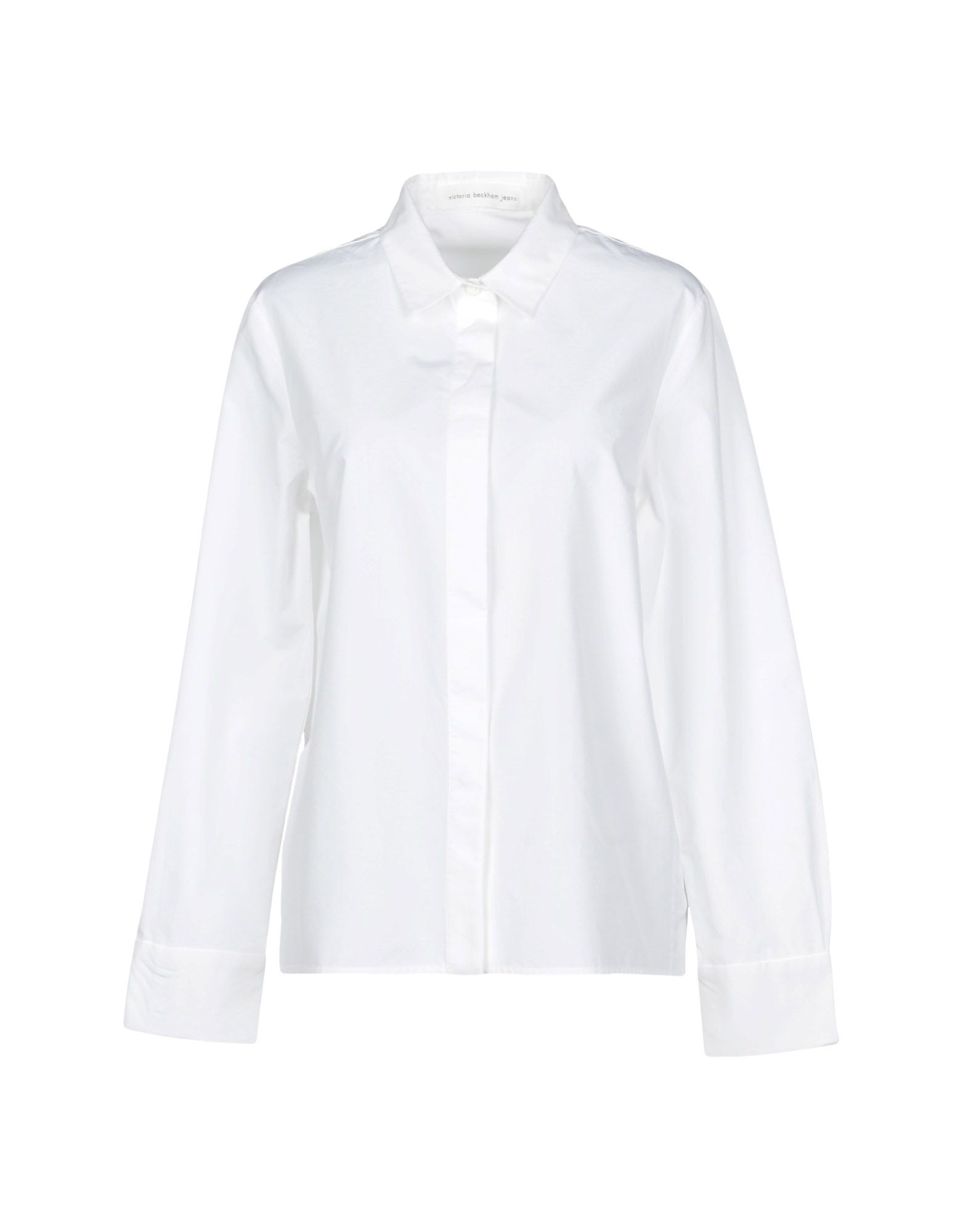 VICTORIA BECKHAM DENIM Solid Color Shirts & Blouses in White