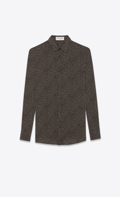 SAINT LAURENT Classic Shirts Woman Shirt in black printed with white polka dots a_V4
