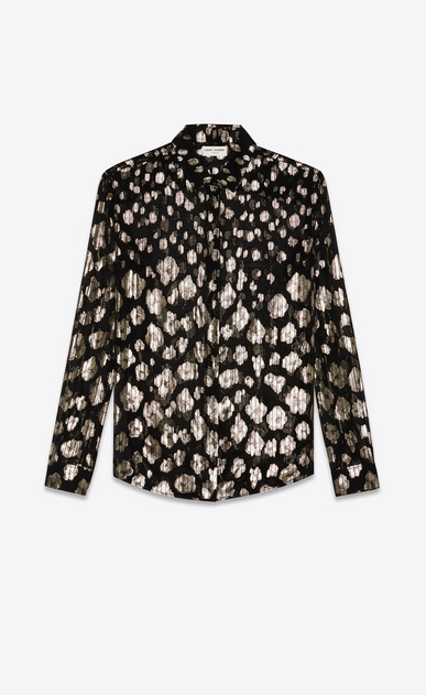 SAINT LAURENT Classic Shirts Woman Shirt in black and gold lamé flowered silk a_V4