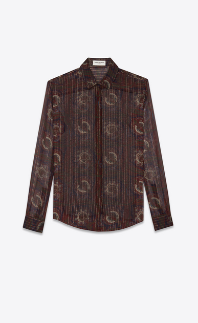 SAINT LAURENT Classic Shirts Woman Shirt in a blue, brick and gold silk paisley print a_V4