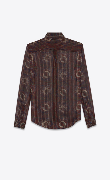 SAINT LAURENT Classic Shirts Woman Shirt in a blue, brick and gold silk paisley print b_V4