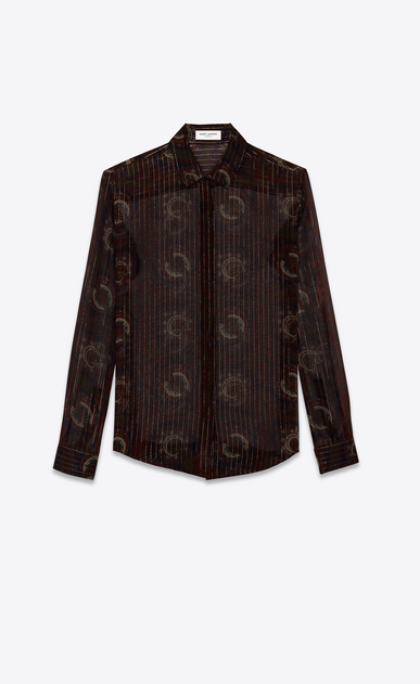 SAINT LAURENT Classic Shirts Woman Shirt in navy blue, burgundy and gold silk paisley print a_V4