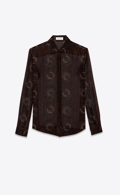 SAINT LAURENT クラシックシャツ レディース クラシックシャツ(ネイビーブルー/バーガンティ/ゴールドシルク/ペイズリープリント) a_V4