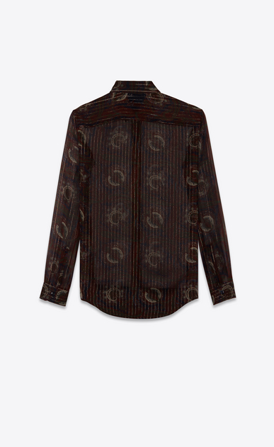 SAINT LAURENT Classic Shirts Woman Shirt in navy blue, burgundy and gold silk paisley print b_V4