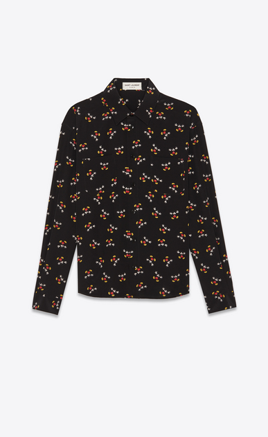 SAINT LAURENT Classic Shirts Woman Shirt in black with a Mickey Mouse print a_V4
