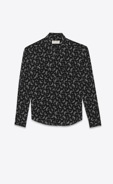 SAINT LAURENT Classic Shirts Woman Motorcycle printed shirt in silk a_V4