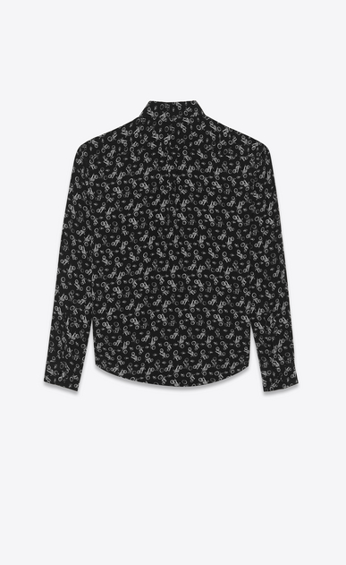 SAINT LAURENT Classic Shirts Woman Shirt in black silk with a motorcycle print b_V4