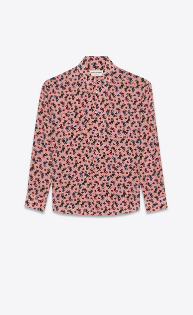SAINT LAURENT Classic Shirts Woman Shirt in pink silk with a motorcycle print a_V4