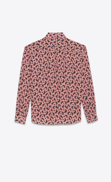 SAINT LAURENT Classic Shirts Woman Shirt in pink silk with a motorcycle print b_V4