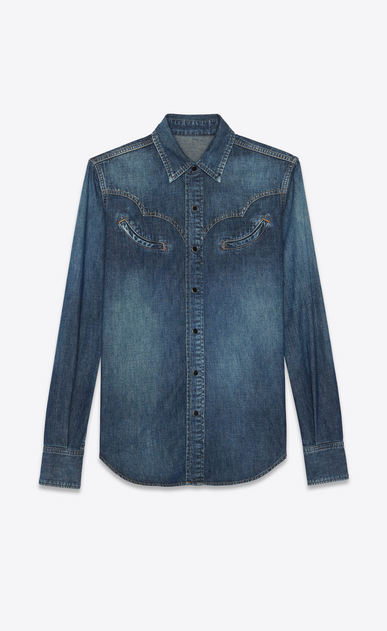 SAINT LAURENT Western Shirts Woman Western shirt in faded blue denim a_V4