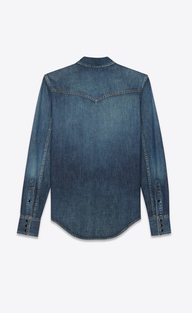 SAINT LAURENT Western Shirts Woman Western shirt in faded blue denim b_V4