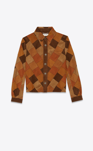 SAINT LAURENT Leather Shirts Woman Patchwork shirt jacket in bourbon and coffee suede a_V4