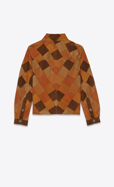 SAINT LAURENT Leather Shirts Woman Patchwork shirt jacket in bourbon and coffee suede b_V4