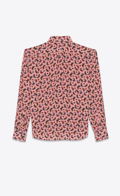 SAINT LAURENT Classic Shirts Man shirt in pink silk with motorcycle print b_V4