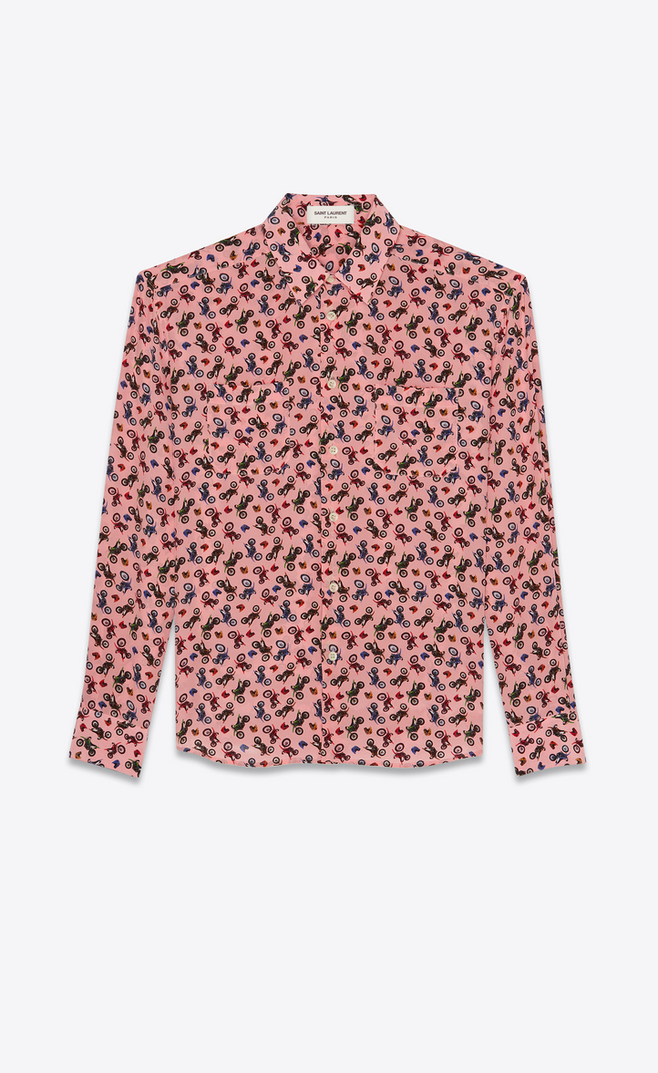 Saint Laurent Flat Pockets Silk Shirt With Motorcycle Print