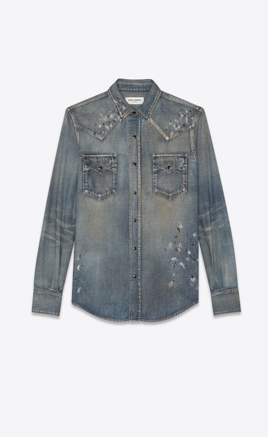 SAINT LAURENT Western Shirts Man Western-style shirt in painted blue denim a_V4