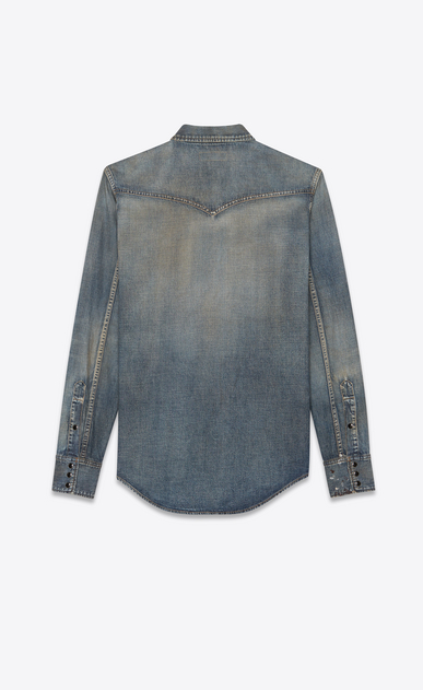 SAINT LAURENT Western Shirts Man Western-style shirt in painted blue denim b_V4