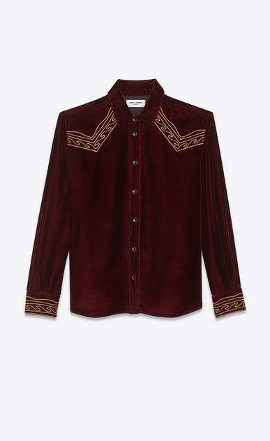 SAINT LAURENT Western Shirts Man Embroidered Western-style shirt in burgundy velvet a_V4