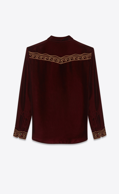 SAINT LAURENT Western Shirts Man Embroidered Western-style shirt in burgundy velvet b_V4