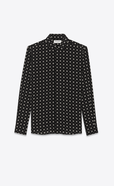 SAINT LAURENT Classic Shirts Man Shirt with small stained glass window print in black a_V4