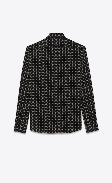 SAINT LAURENT Classic Shirts Man Shirt with small stained glass window print in black b_V4